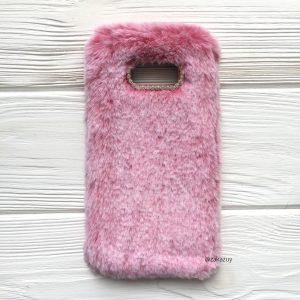 """Силиконовый чехол (накладка) """"Пушистик"""" с мехом и стразами для Samsung G955 Galaxy S8 Plus (Pink)"""