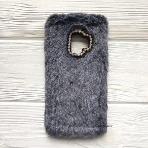 """Cерый силиконовый чехол (накладка) """"Пушистик"""" с мехом и стразами для Samsung G960 Galaxy S9 (Grey)"""
