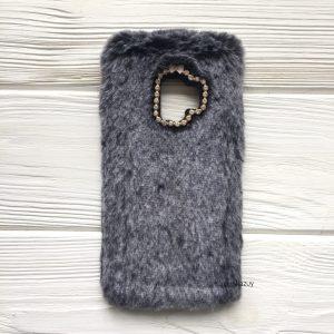 """Силиконовый чехол (накладка) """"Пушистик"""" с мехом и стразами для Samsung G960 Galaxy S9 (Grey)"""