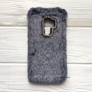 """Серый силиконовый чехол (накладка) """"Пушистик"""" с мехом и стразами для Samsung G965 Galaxy S9 Plus (Grey)"""