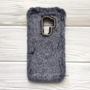 """Силиконовый чехол (накладка) """"Пушистик"""" с мехом и стразами для Samsung G965 Galaxy S9 Plus (Grey)"""