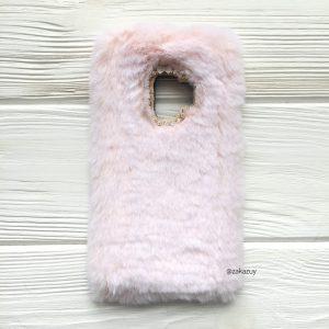 """Силиконовый чехол (накладка) """"Пушистик"""" с мехом и стразами для Samsung G960 Galaxy S9 (Light Pink)"""