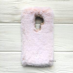 """Светло-розовый силиконовый чехол (накладка) """"Пушистик"""" с мехом и стразами для Samsung G965 Galaxy S9 Plus (Light Pink)"""