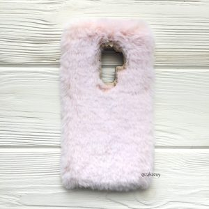 """Силиконовый чехол (накладка) """"Пушистик"""" с мехом и стразами для Samsung G965 Galaxy S9 Plus (Light Pink)"""