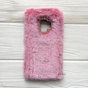 """Розовый силиконовый чехол (накладка) """"Пушистик"""" с мехом и стразами для Samsung G960 Galaxy S9 (Pink)"""