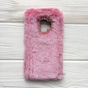 """Силиконовый чехол (накладка) """"Пушистик"""" с мехом и стразами для Samsung G960 Galaxy S9 (Pink)"""