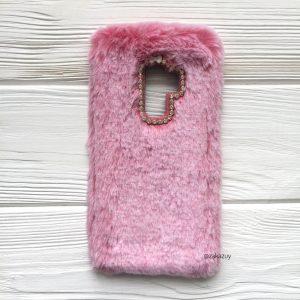 """Pозовый силиконовый чехол (накладка) """"Пушистик"""" с мехом и стразами для Samsung G965 Galaxy S9 Plus (Pink)"""