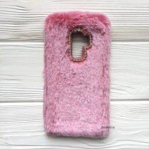 """Силиконовый чехол (накладка) """"Пушистик"""" с мехом и стразами для Samsung G965 Galaxy S9 Plus (Pink)"""