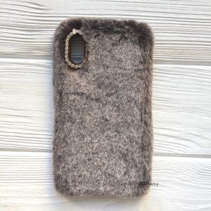 """Коричневый силиконовый чехол (накладка) """"Пушистик"""" с мехом и стразами для Iphone X / Xs (Brown)"""