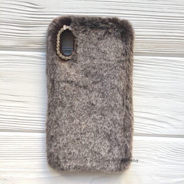 """Коричневый силиконовый чехол (накладка) """"Пушистик"""" с мехом и стразами для Iphone XS Max (Brown)"""