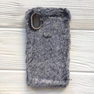 """Серый силиконовый чехол (накладка) """"Пушистик"""" с мехом и стразами для Iphone XR (Grey)"""
