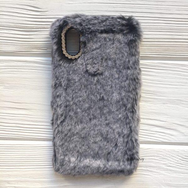 """Силиконовый чехол (накладка) """"Пушистик"""" с мехом и стразами для Iphone X / Xs (Grey)"""