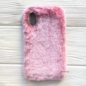 """Розовый силиконовый чехол (накладка) """"Пушистик"""" с мехом и стразами для Iphone XR (Pink)"""