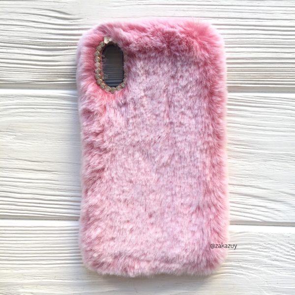 """Розовый силиконовый чехол (накладка) """"Пушистик"""" с мехом и стразами для Iphone XS Max (Pink)"""