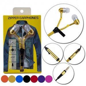 Наушники (cтерео гарнитура) Zipper Earphones (Золотой / Gold)