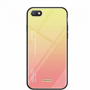 TPU+Glass чехол Gradient HELLO с градиентом для Xiaomi Redmi 6A (Pink)
