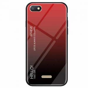 TPU+Glass чехол Gradient HELLO с градиентом  для Xiaomi Redmi 6A (Red / Black)