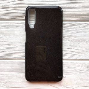 Силиконовый (TPU+PC) чехол Shine с блестками для Samsung A750 Galaxy A7 2018 (Черный)