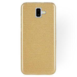 Силиконовый (TPU+PC) чехол  Shine с блестками для Samsung J610 Galaxy J6 Plus 2018 (Золотой)