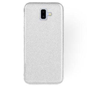Силиконовый (TPU+PC) чехол Shine с блестками для Samsung J610 Galaxy J6 Plus 2018 (Серебряный)
