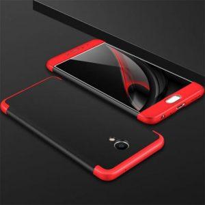 Матовый пластиковый чехол GKK 360 градусов для Meizu M6 Note (Черный / Красный)