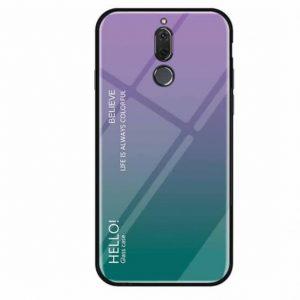 TPU+Glass чехол Gradient HELLO с градиентом для Meizu M6T (Violet / Green)
