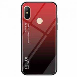 TPU+Glass чехол Gradient HELLO с градиентом для Xiaomi Redmi Note 6 Pro (Красный / Черный)