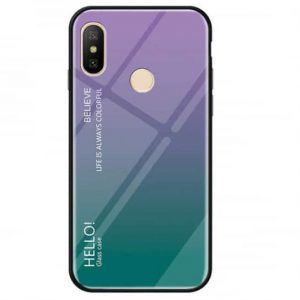 TPU+Glass чехол Gradient HELLO с градиентом для Huawei P Smart Plus / Nova 3i (Violet / Green)