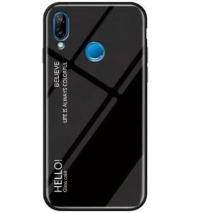TPU+Glass чехол Gradient HELLO с градиентом для Huawei P Smart 2019 / Honor 10 Lite (Black)