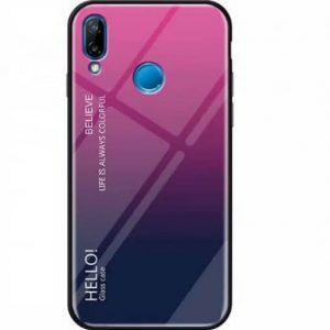 TPU+Glass чехол Gradient HELLO с градиентом для Huawei P Smart 2019 / Honor 10 Lite (Rose)