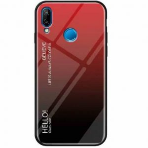 TPU+Glass чехол Gradient HELLO с градиентом для Huawei P Smart 2019 / Honor 10 Lite (Red / Black)