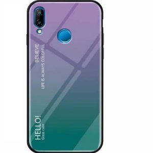 TPU+Glass чехол Gradient HELLO с градиентом для Xiaomi Redmi Note 7 (Violet / Green)