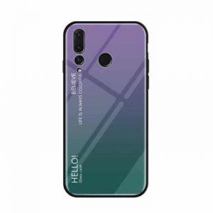 TPU+Glass чехол Gradient HELLO с градиентом для Huawei Nova 4 (Violet / Green)