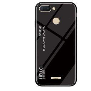 TPU+Glass чехол Gradient HELLO с градиентом для Xiaomi Redmi 6 (Black)