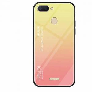 TPU+Glass чехол Gradient HELLO с градиентом для Xiaomi Redmi 6 (Pink)