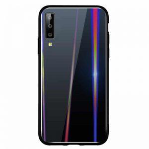 Черный чехол (накладка) TPU+Glass с градиентом Gradient Aurora для Samsung A750 Galaxy A7 (2018) (Black)