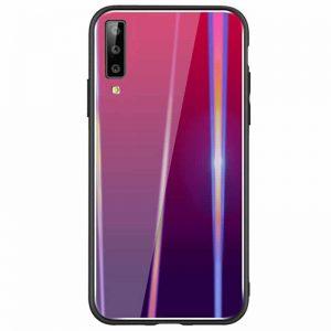 Малиновый чехол (накладка) TPU+Glass с градиентом Gradient Aurora для Samsung A750 Galaxy A7 (2018) (Rose)