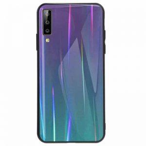 Фиолетовый чехол (накладка) TPU+Glass с градиентом Gradient Aurora для Samsung A750 Galaxy A7 (2018) (Violet)