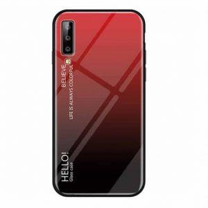 Красный чехол (накладка) TPU+Glass с градиентом Gradient Hello для Samsung A750 Galaxy A7 (2018) (Red)