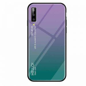 Фиолетовый чехол (накладка) TPU+Glass с градиентом Gradient Hello для Samsung A750 Galaxy A7 (2018) (Violet)