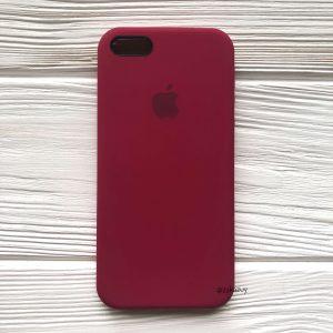 Оригинальный силиконовый чехол (Silicone case) для Iphone 5 / 5s / SE (Rose Red) №4