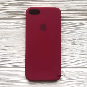 Оригинальный чехол Silicone Case с микрофиброй для Iphone 5 / 5s / 5c / SE  №4 (Rose Red)