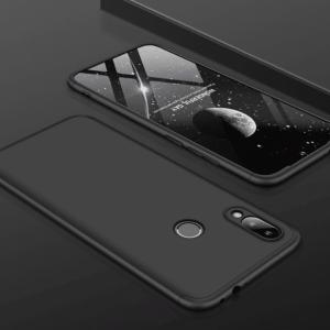 Матовый пластиковый чехол GKK 360 градусов для Xiaomi Redmi Note 7 (Черный)