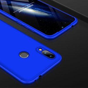 Синий матовый пластиковый чехол (бампер) GKK 360 градусов для Xiaomi Redmi Note 7 (Blue)