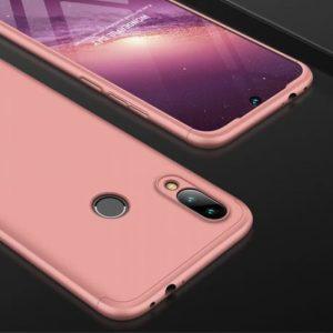 Розовый матовый пластиковый чехол (бампер) GKK 360 градусов для Xiaomi Redmi Note 7 (Rose Gold)