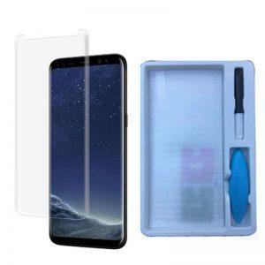 Защитное стекло 3D / 5D Full Glue с УФ клеем для Samsung Note 8 (Прозрачное / Clear)
