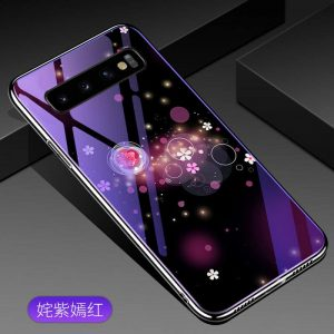 TPU+Glass чехол Fantasy с глянцевыми торцами  для Samsung G975 Galaxy S10 Plus (Bubbles with flowers)