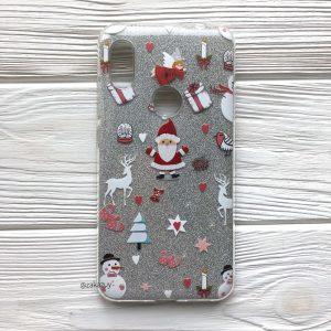 Cиликоновый (TPU+PC) новогодний Santa чехол (накладка) с блестками для Xiaomi Redmi Note 6 / 6 Pro