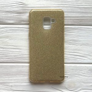 Cиликоновый (TPU+PC) чехол Shine с блестками для Samsung A730 A8 Plus 2018 (Золотой)