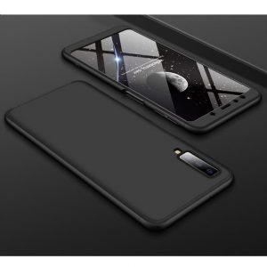 Матовый пластиковый чехол GKK 360 градусов для Samsung A750 Galaxy A7 2018 (Черный)